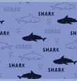 seamless pattern cute sharks isolated animal vector image vector image