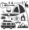 set camping objects isolated on white vector image vector image