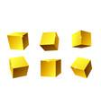set golden geometric cubes 3d realistic vector image