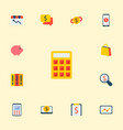set of economy icons flat style symbols with money vector image