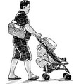 sketch a father with his kid in baby carriage vector image