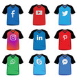 social media icon on t-shirt vector image vector image