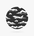 symbol passenger airplane in clouds vector image vector image