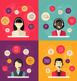 Technical support banners set assistant woman with vector image vector image