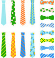 ties and bow ties set in cartoon flat style vector image