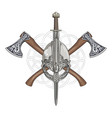 viking helmet crossed axes and in a wreath vector image