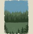 vintage forest landscape colorful poster vector image vector image