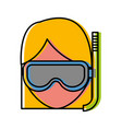 woman with snorkel mask icon vector image vector image