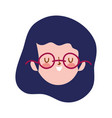young woman face character cartoon isolated icon vector image vector image