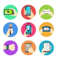 Hands holding devices vector image