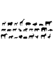 set of animals silhouette vector image