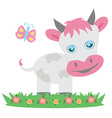 Cow and butterfly vector image