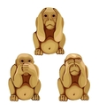 Funny monkey in three poses for animations vector image