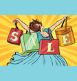 woman with sale bags shopping vector image