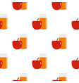 glass of juice with red apple pattern seamless vector image
