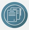 icon document on white circle with a long shadow vector image