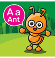 A ant color cartoon and alphabet for children to vector image vector image