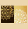 a4 format cards decorated with mandala in golden vector image vector image