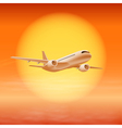 Airplane in the sky with sun in sunset time vector image vector image
