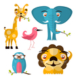Animals - Giraffe Owl Bird Lion and Elephant vector image vector image