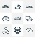 automobile icons line style set with cabriolet vector image