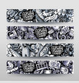 ba hand drawn doodle banners design vector image vector image