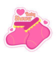 baby shower label with a pair of socks vector image vector image