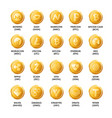 bitcoin cryptocurrency golden coins icons vector image
