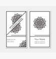 business card with round lacy pattern vector image vector image