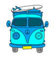 classic retro bus old hipster bus red microbus vector image