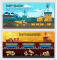 Coal Production Banners Set vector image vector image