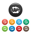 comic boom zap icons set color vector image