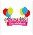 Congratulations sign has flower and balloons vector image vector image