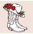 Cowboy Christmas boots and hat graphic