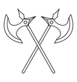 Crossed battle axes icon outline style vector image