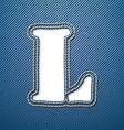 Denim jeans letter L vector image vector image