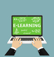 e-learning flat human hand using vector image