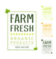 farm fresh organic natural food label vector image