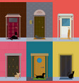 flat colorful building exterior set vector image