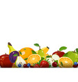 fresh fruits collection isolated on white vector image vector image