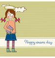funny young student girl before exam vector image vector image