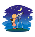 girl and telescope vector image vector image