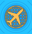 globe and plane travel sign sand color vector image vector image