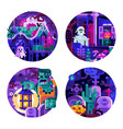 halloween circle icons with monster creatures vector image vector image