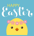 happy easter card with bunny ears and lettering vector image vector image