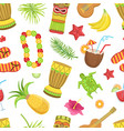 hawaiian travelling sights and symbols seamless vector image