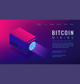 isometric bitcoin mining landing page concept vector image