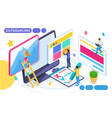 isometric concept of remote work freelancing vector image