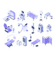 isometric hospital tools medical diagnostic vector image vector image