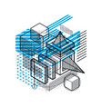 isometric linear abstract background lined vector image vector image